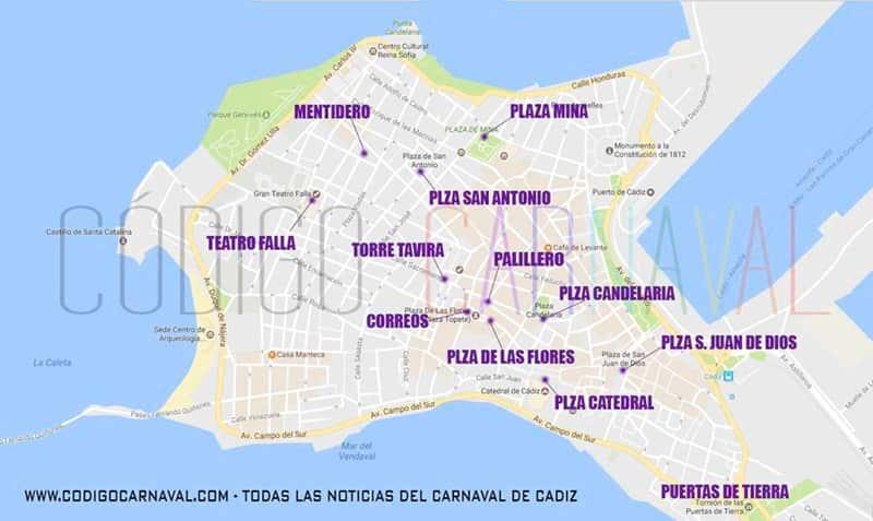 Mapa ver agrupaciones en carnaval de cadiz